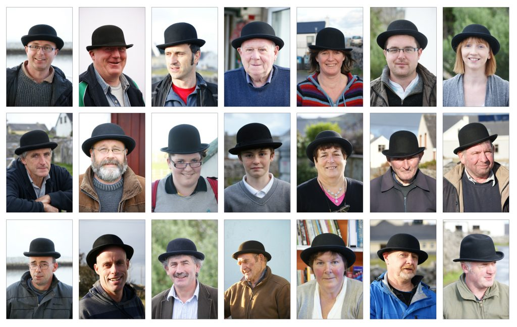 Part of collection of Inis Oirr people waring a bowler hat